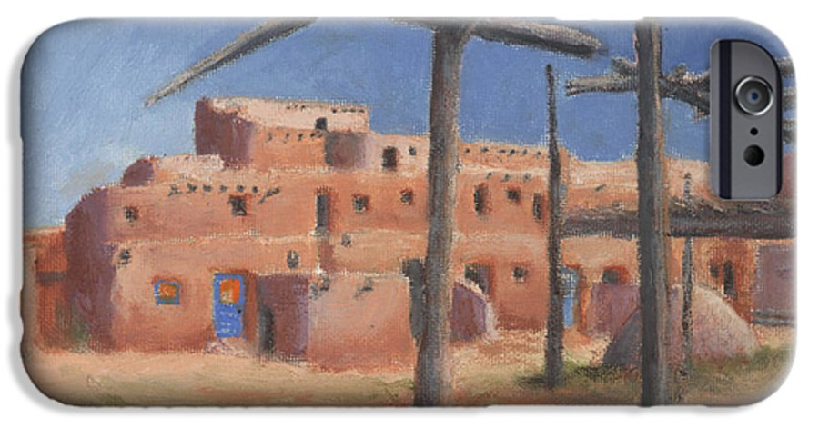 Taos IPhone 6 Case featuring the painting Taos Pueblo by Jerry McElroy
