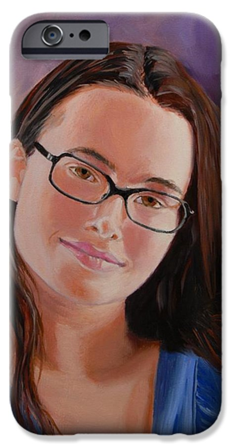 Portrait IPhone 6 Case featuring the painting Taryn Snow by Quwatha Valentine