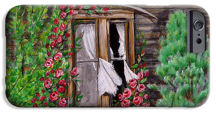 Curtains IPhone 6 Case featuring the painting Tattered Curtains by Quwatha Valentine