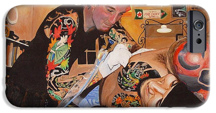 Portrait IPhone 6 Case featuring the painting Tattoo Artist by Quwatha Valentine