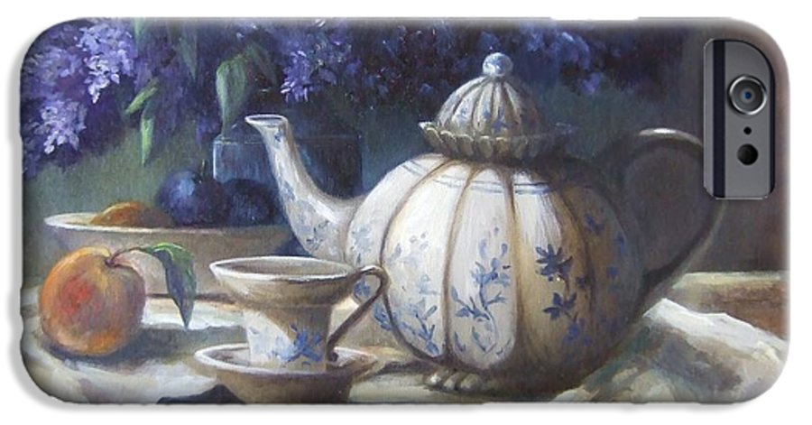 Teapot IPhone 6 Case featuring the painting Tea And Lilacs by Ruth Stromswold