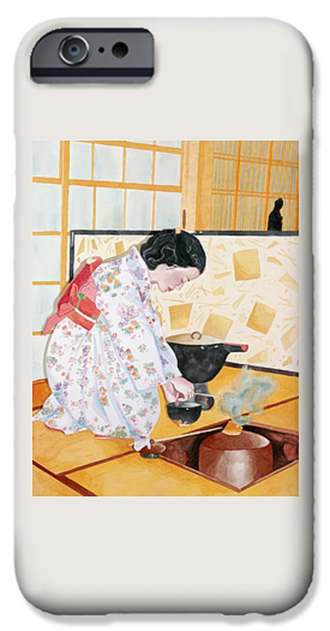 Japanese Woman Performing Tea Ceremony IPhone 6 Case featuring the painting Tea Ceremony by Judy Swerlick