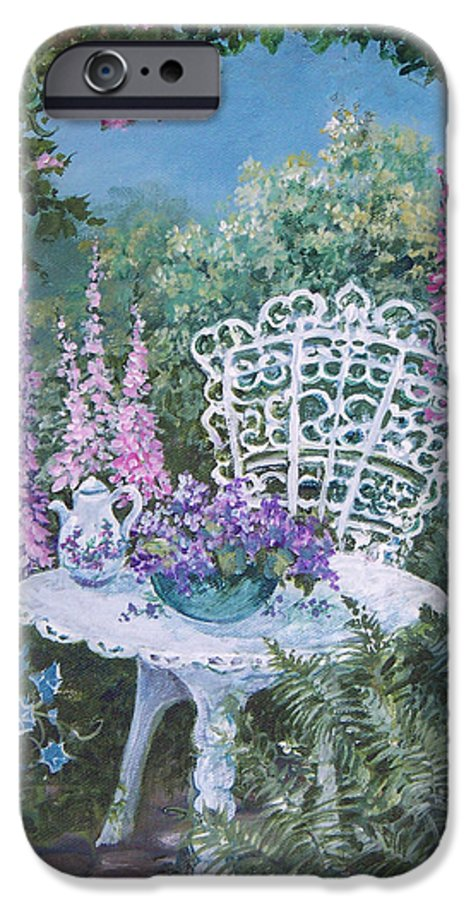 Garden;flowers;teapot;ornamental;roses; IPhone 6 Case featuring the painting Tea Time In The Garden by Lois Mountz