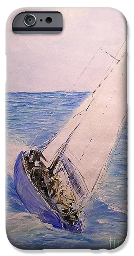Seascape IPhone 6 Case featuring the painting Tell Tails In The Wind by Lizzy Forrester