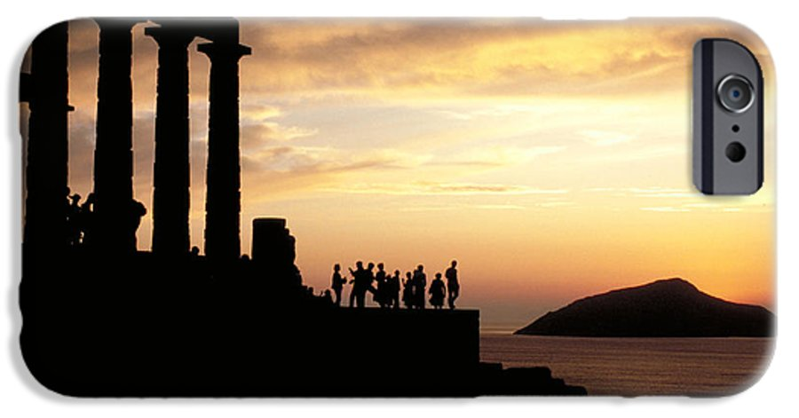 Tourists IPhone 6 Case featuring the photograph Temple Of Poseiden In Greece by Carl Purcell