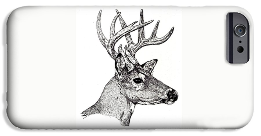 Deer IPhone 6 Case featuring the drawing Ten Point Buck by Debra Sandstrom