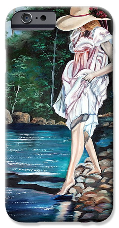 Vintage IPhone 6 Case featuring the painting Testing The Water by Margaret Fortunato