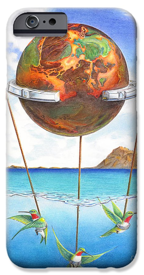 Surreal IPhone 6 Case featuring the painting Tethered Sphere by Melissa A Benson