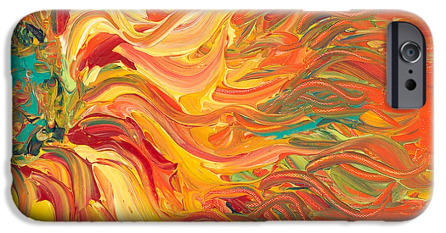 Sunjflower IPhone 6 Case featuring the painting Textured Fire Sunflower by Nadine Rippelmeyer