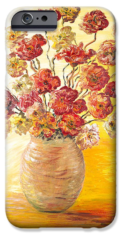 Flowers IPhone 6 Case featuring the painting Textured Flowers In A Vase by Nadine Rippelmeyer