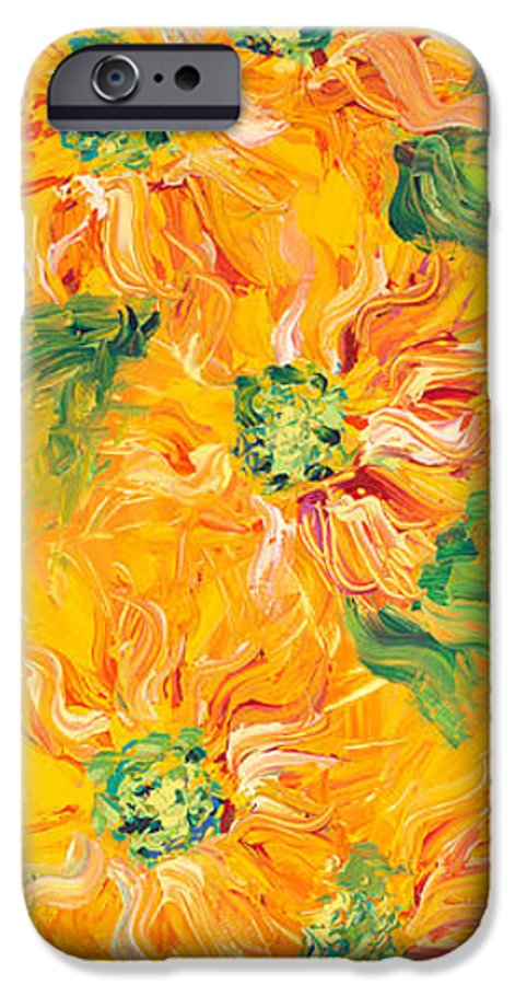 Yellow IPhone 6 Case featuring the painting Textured Yellow Sunflowers by Nadine Rippelmeyer