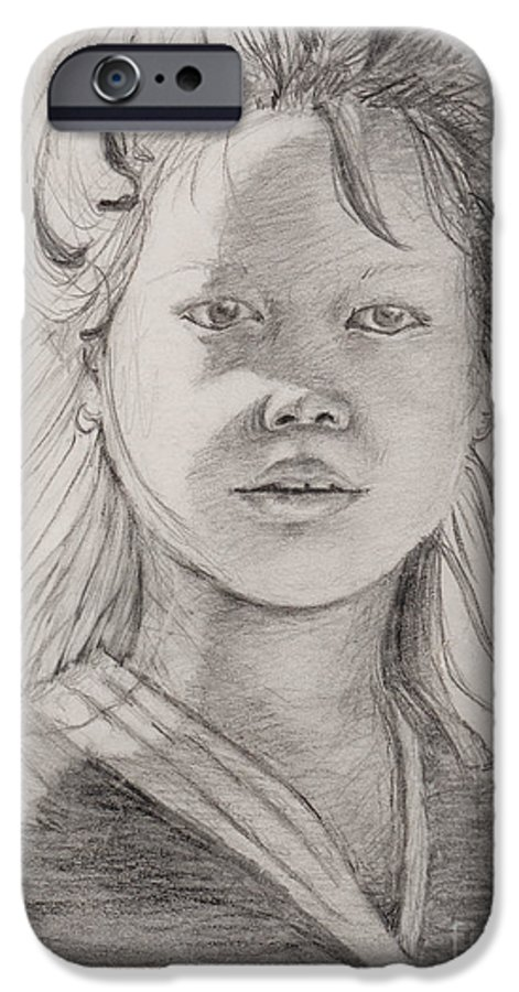 Portrait IPhone 6 Case featuring the drawing Thai Beauty by Nadine Rippelmeyer