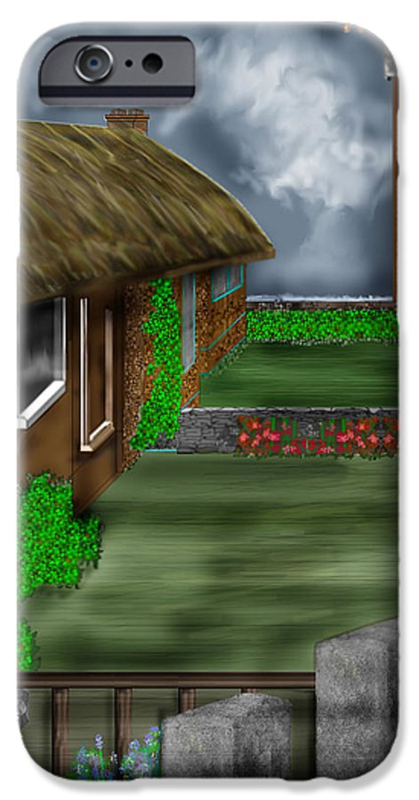Cottages IPhone 6 Case featuring the painting Thatched Roof Cottages In Ireland by Anne Norskog