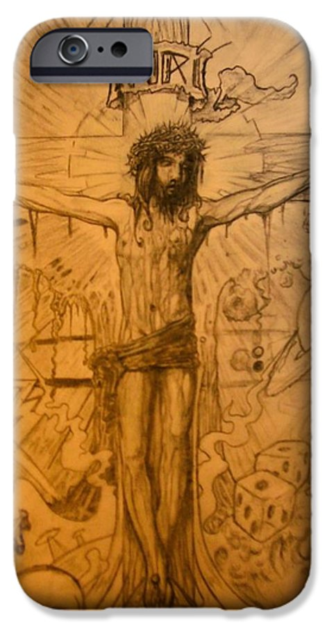 Jesus IPhone 6 Case featuring the drawing The Ace Of Hearts by Will Le Beouf
