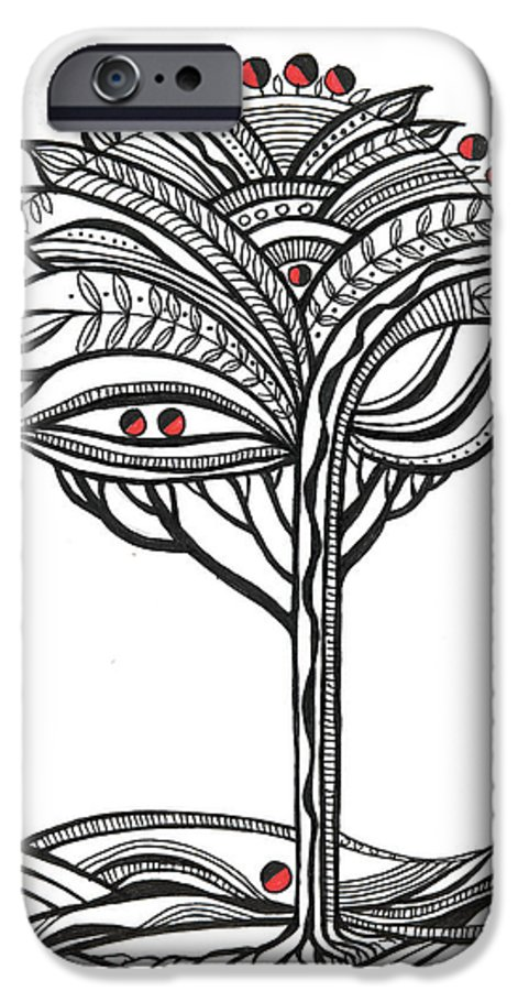 Abstract IPhone 6 Case featuring the drawing The Apple Tree by Aniko Hencz