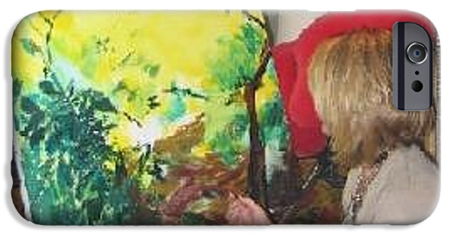 Artist. Lizzy Forrester. Ibiza. Spain. Sunlight. Bright & Colourful. IPhone 6 Case featuring the painting The Artist At Work. by Lizzy Forrester