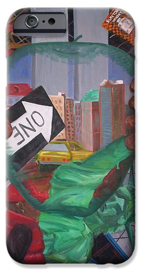 New York IPhone 6 Case featuring the painting The Big Apple by Lauren Luna