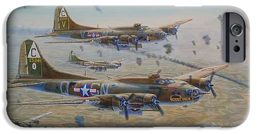 303rd Bomb Groups Vicious Virgin IPhone 6 Case featuring the painting The Bomb Run Over Schwienfurt by Scott Robertson