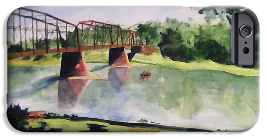 Bridge IPhone 6 Case featuring the painting The Bridge At Ft. Benton by Andrew Gillette