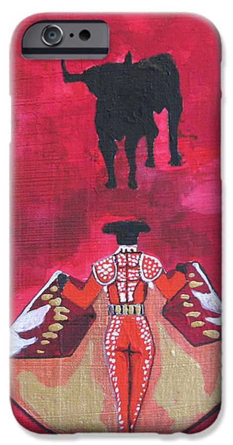 Spanish Art IPhone 6 Case featuring the painting The Bull Fight No.1 by Patricia Arroyo