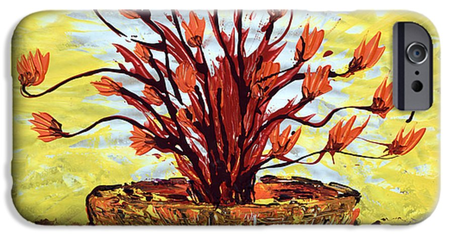 Red Bush IPhone 6 Case featuring the painting The Burning Bush by J R Seymour