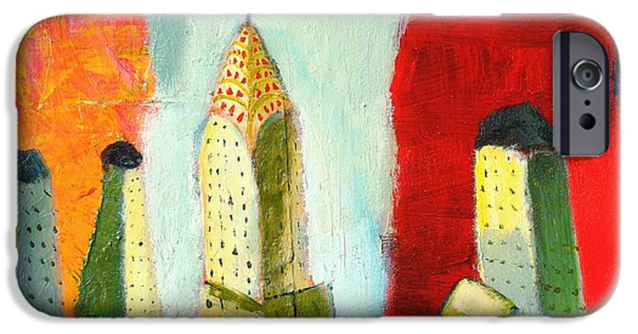 Abstract Cityscape IPhone 6 Case featuring the painting The Chrysler In Colors by Habib Ayat