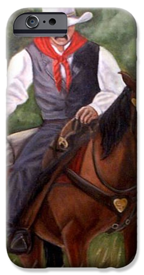 Portrait IPhone 6 Case featuring the painting The Cowboy by Toni Berry
