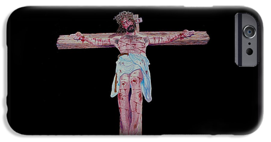 Crucifixion IPhone 6 Case featuring the painting The Crucifixion by Stan Hamilton