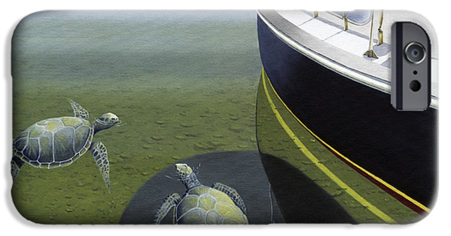 Sail Boat IPhone 6 Case featuring the painting The Curiosity Of Sea Turtles by Gary Giacomelli