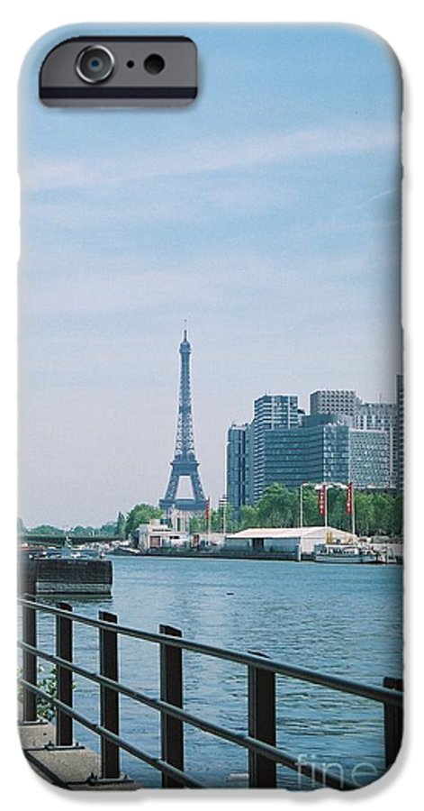 The Eiffel Tower IPhone 6 Case featuring the photograph The Eiffel Tower And The Seine River by Nadine Rippelmeyer