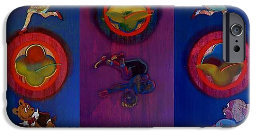 The Drums Of The Fruit Machine Stop At Random. Triptych IPhone 6 Case featuring the painting The Fruit Machine Stops II by Charles Stuart