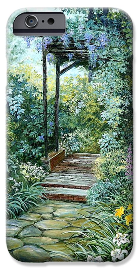 Oil Painting;wisteria;garden Path;lilies;garden;flowers;trellis;trees;stones;pergola;vines; IPhone 6 Case featuring the painting The Garden Triptych Right Side by Lois Mountz