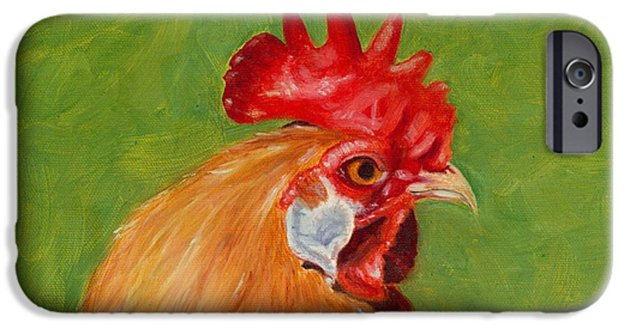 Rooster IPhone 6 Case featuring the painting The Gladiator by Paula Emery