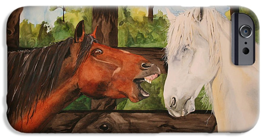 Horse IPhone 6 Case featuring the painting The Horse Whisperers by Jean Blackmer