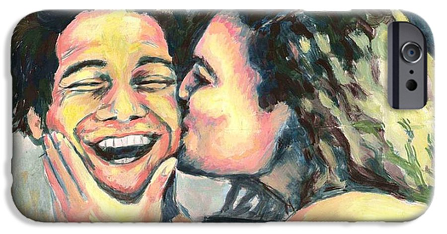 Man IPhone 6 Case featuring the painting The Kiss by Nicole Zeug