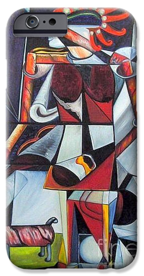 Cubism IPhone 6 Case featuring the painting The Lady And Her Dog by Pilar Martinez-Byrne