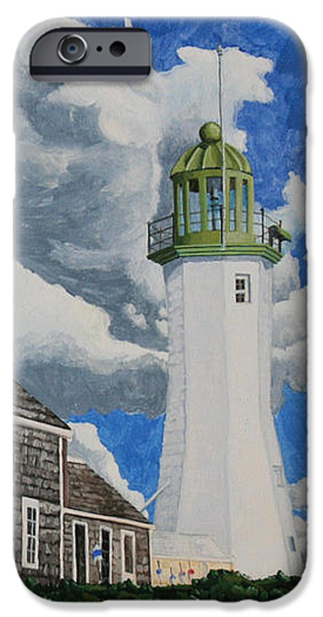 Lighthouse IPhone 6 Case featuring the painting The Light Keeper's House by Dominic White