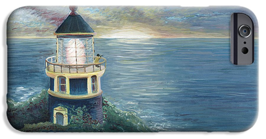 Lighthouse IPhone 6 Case featuring the painting The Lighthouse by Nadine Rippelmeyer