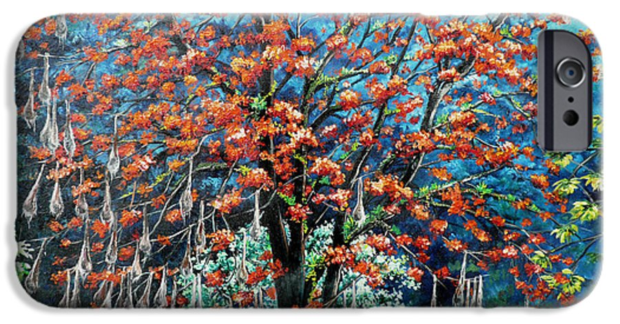 Tree Painting Mountain Painting Floral Painting Caribbean Painting Original Painting Of Immortelle Tree Painting  With Nesting Corn Oropendula Birds Painting In Northern Mountains Of Trinidad And Tobago Painting IPhone 6 Case featuring the painting The Mighty Immortelle by Karin Dawn Kelshall- Best