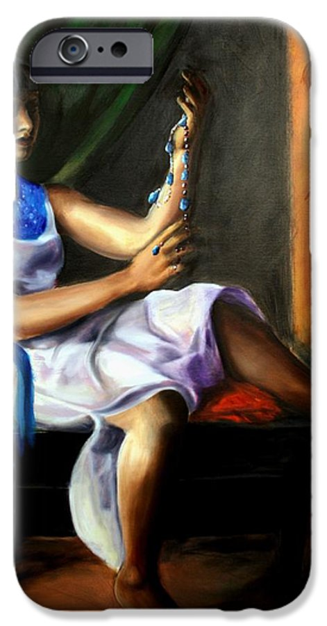 Portrait IPhone 6 Case featuring the painting The Necklace by Maryn Crawford