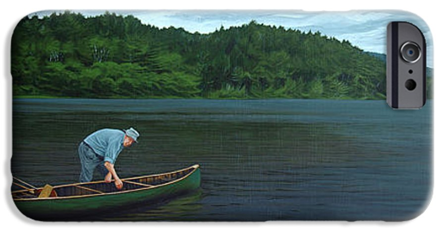 Landscape IPhone 6 Case featuring the painting The Old Green Canoe by Jan Lyons
