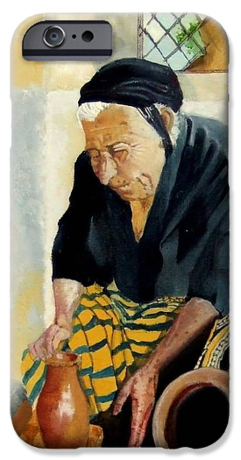 Old People IPhone 6 Case featuring the painting The Old Potter by Jane Simpson