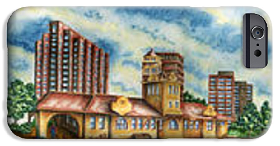 Cityscape IPhone 6 Case featuring the painting The Old Train Station  by Ragon Steele