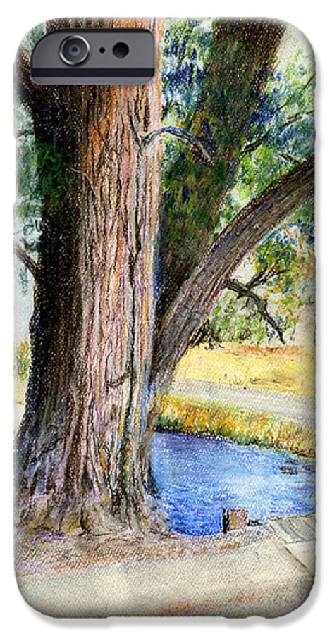 Tree IPhone 6 Case featuring the pastel The Old Tree by Arline Wagner