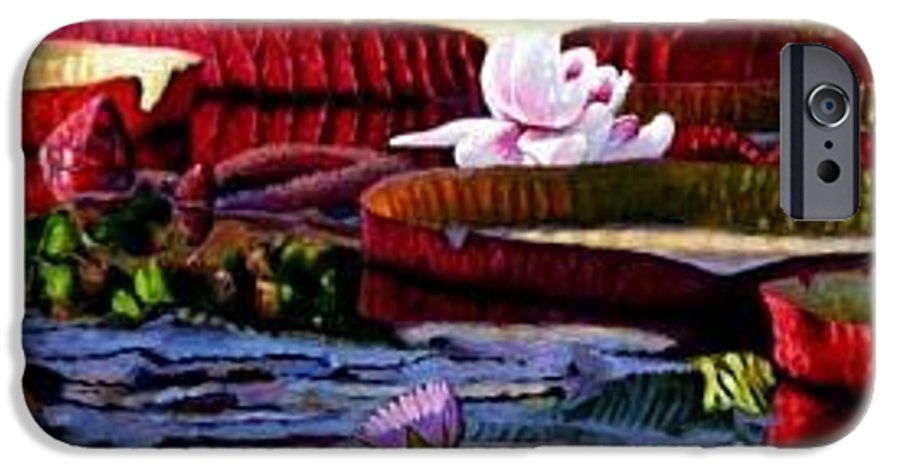 Shadows And Sunlight Across Water Lilies. IPhone 6 Case featuring the painting The Patterns Of Beauty by John Lautermilch