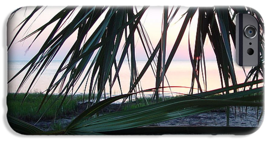 Palms IPhone 6 Case featuring the painting The Peeking Palms by Debbie May
