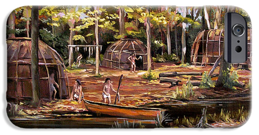 Institute Of American Indian IPhone 6 Case featuring the painting The Pequots by Nancy Griswold