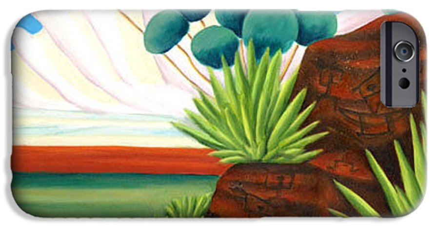 Landscape IPhone 6 Case featuring the painting The Petroglyphs by Lynn Soehner