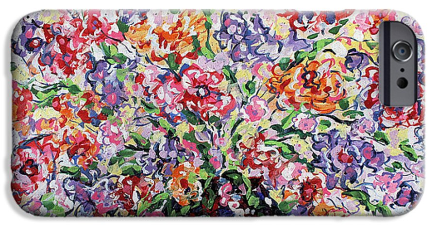 Flowers IPhone 6 Case featuring the painting The Rainbow Flowers by Leonard Holland