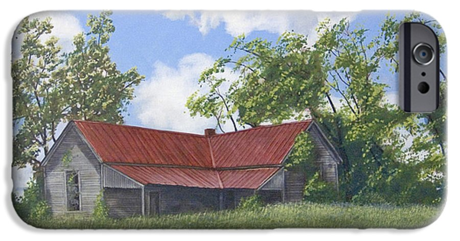 Landscape IPhone 6 Case featuring the painting The Red Roof by Peter Muzyka